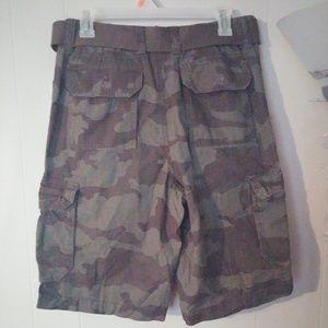 Men's Camo Cargo Walking Shorts Sz 30 Green/Brown